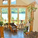 Great Room, The Heart of Passive Solar Heating and view of the lake.