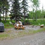 Great picnic table and fire pit area in front of our cabin