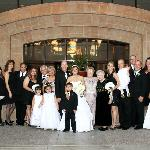 Our entire family wedding photo in the court yard area.