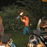 Fire spinning show at night