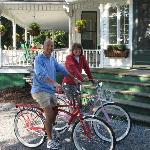 leaving the Inn for morning bike ride in park