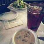 Soup is amazing and salad is very fresh.