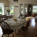 The dining room all set for the wonderful breakfast