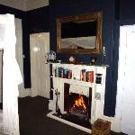 The cosy fire in the garden view room