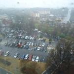 View across the parking lot on a rainy morning