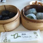 black truffle dumplings and century egg spinach dumplings