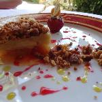 Her dessert: apple and rubarb crumble