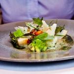 Ceviche of Hand Dived Scallops with Kabu Turnips, Seaweed, Herb Oil and Frozen English Wasabi