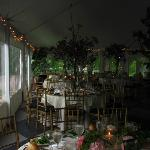 "A peek at our ""enchanted forest"" at Belvedere in the reception tent."