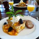 One of our favorite breakfasts was this bread pudding topped with fresh fruit.