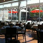 Indoor and outdoor dining at Zy
