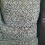Stains dripping down side of chair in living room area