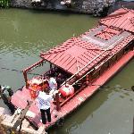 Tour boat turning around