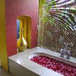 Rose petals decorated bathroom