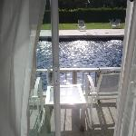 Pool Access balcony with glaring noonday