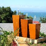 Waterfeature and ocean/ garden view