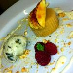iced apple tian,frozen yoghurt and pumpkin seeds.