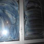 los cristales de las ventanas