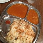 Roti Canai with 2 curry dips and spicy sambal!