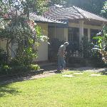 Mr. Nyoman in his well kept garden