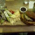 Home made burger, hand cut chips & a real salad!