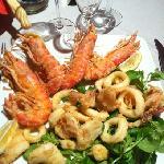 fritto di gamberi( giganti) e calamari