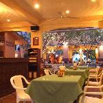 Interior of the Papaya Restaurant, with the bar.
