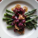 Grilled Asparagus, Roasted Beets, Walnuts and Caramelized Onion Vinaigrette