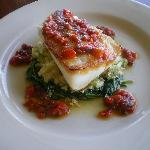 LIng Cod with Spinach, Quinoa and Salsa Rossa