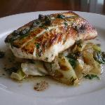Rockfish with Braised Cabbage, Green Onions and Capers