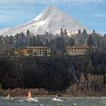 View of Hotel and Mt.Hood from across river