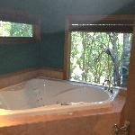 Gorgeous jacuzzi tub looking out into the forrest.