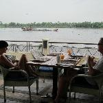 watching the river traffic at breakfast !