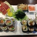Soft Shell Crab Sushi Roll, Tuna Sashmi & Salmon & Avocado Sushi Roll