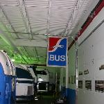 The indoor bus barn holds several vintage Greyhound buses from the 1920s to the 1980s.