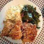 Mamas Chicken collard green and mac n cheese