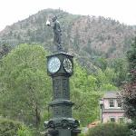 The Manitou town clock two blocks from the Avenue Hotel