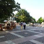 Pedestrian area outside of hotel