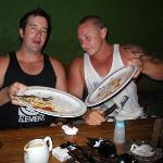 Notice the sweat, they worked hard to finish those burgers!