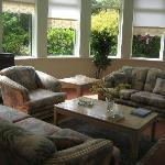 The lounge has beautiful garden views