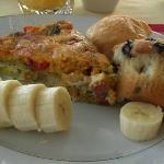 Impossible quiche, muffins, fruit and croissant (amazing quiche!)