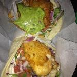 Nick's Crispy Tacos-fish tacos, one Nick's way one not