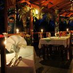 Restaurant terrace by night
