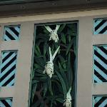 zoomed in on the carved decoration on the building