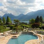 Pool, lake, mountains