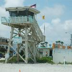 LIFEGUARD TOWER SITS NEXT TO RESORT