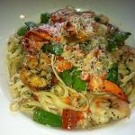 Shrimp and Lobster Pasta, Scampi Style over Linguine.