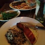 salmon with wild rice, steak with fries, french string beans