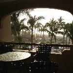 Balcony and pool area