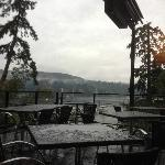 The view, on a rainy day from our table